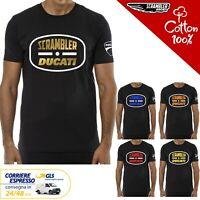 T-Shirt Ducati Scrambler uomo Maglia moto nera cotone 100%