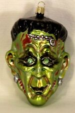 Rare Frankenstein w/ Rhinestone Eyes~Mold Blown Glass Halloween Ornament Poland
