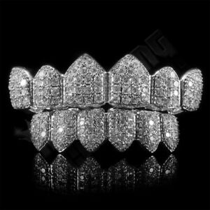 18K White Gold Plated Top and Bottom Custom GRILLZ Silver CZ Cluster Teeth Set