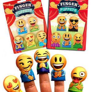 5 x EMOJ SMILE FACE FINGER PUPPETS TOY LOOT PARTY BAG CHRISTMAS STOCKING FILLERS