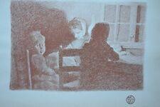 EMILE CLAUS DRAWING EN FAMILLE LITHOGRAPHIC PRINT STUDIO MAGAZINE 1899