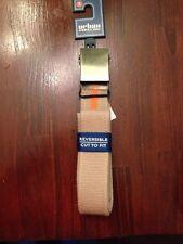 Mens Cut To Fit Canvas Belt Beige /Orange Reversible Retail $20