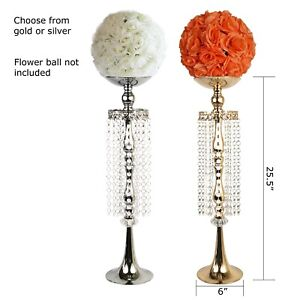 "Allgala 25"" Flower Metal Stand with Crystal Beads Strand"