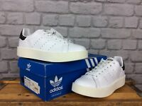 ADIDAS UK 8 EU 42 LADIES STAN SMITH WHITE CORE BLACK DOT BOLD LEATHER TRAINERS