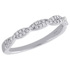 Braided Ladies Right Hand Ring 0.25 Ct. 10K White Gold Round Diamond Twist &