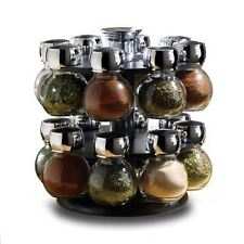 HIGHLANDS 16pc Glass Spice Jars With Revolving Rack Carousel Style Kitchen