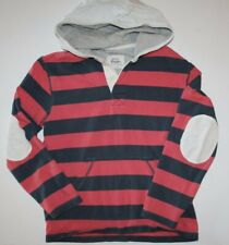 MINI BODEN long sleeve rugby style hooded shirt w/ elbow patches Boys size 11 12