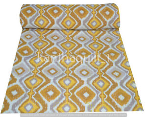 Indian Embroidery Kantha Quilt Bedspread Block Throw Cotton Yellow