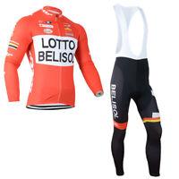 YQ613 Mens New Sport Cycling Winter Thermal Fleece long sleeve jersey Bib Pants