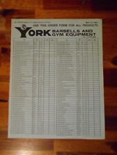 YORK BARBELL COMPANY Gym Equipment products ORIGINAL Order Form (4 pages) 5-84