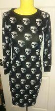 indulgence Skull dress. Size S/M. Black with white/grey skulls