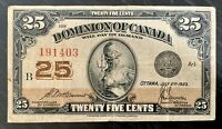 1923 25 CENTS DOMINION OF CANADA McCavour-Sanders V.F Cond!