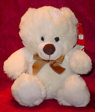 CREAM BEAR WITH BROWN NOSE ** BIG EYES ** BROWN BOW TIE ** CUTE ** 10 INCHES