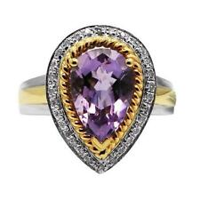 14K WHITE YELLOW TWO TONE GOLD DIAMOND PURPLE AMETHYST COCKTAIL ENGAGEMENT RING