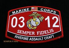MOS 0312 RIVERINE ASSUALT CRAFT PATCH US MARINES PIN UP USS FMF CAMP LEJUNE WOW