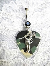 COUNTRY GIRL CAMO GUITAR PICK & REVOLVER GUN CHARM w BLACK CZ BELLY BUTTON RING
