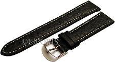 Aviatori bracciale orologi orologi pilota Nastro Pelle Nero Cucitura Bianco Uhrband 22mm Strap