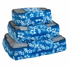 Travel Packing Mesh Bag, Packing Cubes - Assorted 3PC Set - white Flowers Print