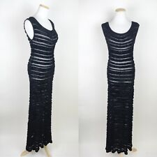 NORA ATTALAI Sheer Black Maxi Dress 8 Fuzzy Stripe Stretchy Sexy Bodycon