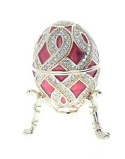 Ciel Collectible Crimson Red Egg Trinket Box Austrian Crystals