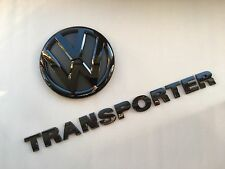 VW TRANSPORTER T5 GLOSS BLACK REAR EMBLEM + LETTERS BADGE SET TDI