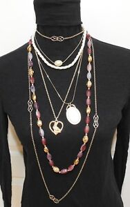 Lot of 6 Vintage Costume Jewelry NECKLACES Faux Pearls, stone Bead, Cat Pendant
