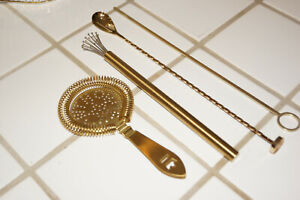 Cocktail Kingdom Gold Plated Bar Tools - Strainer, Whisk, Muddler Spoon, Stirrer