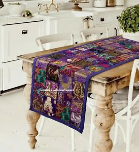 "Indian Handmade Vintage Patchwork Table Runner Bohemian Purple Wall Hanging 60"""
