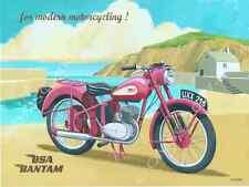BSA Bantam Motorcycle Metal Sign, Ocean Beach Scene, Vintage Pub or Den Decor