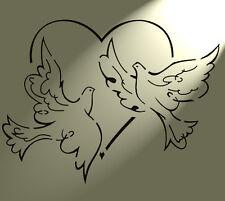 Shabby Chic Stencil 2 colombe cuore MYLAR Rustico Stile Vintage Muro a4 297x210mm