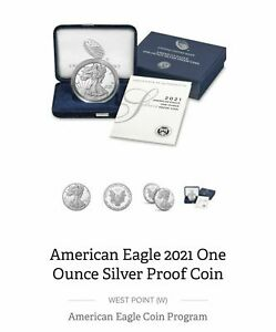 2021-W PROOF AMERICAN SILVER EAGLE 🔥 21 EA TYPE 1 HERALDIC w/ OGP & COA  👌