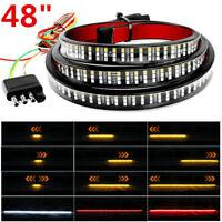 "6 Modes 48"" 372LED Truck Tailgate Light Bar Strip 3Row Brake Reverse Signal Tail"