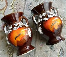 "Pair of Vintage Handmade French ""Antibes"" Glazed Pottery 6""/16cm Souvenir Vases"