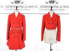 Women's Red WOOL KAREN MILLEN Removable Zip Bold Smart Blazer Trench Coat UK 12