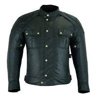 ARN® Vintage Wax Cotton Waterproof Motorcycle textile Motorbike Jacket CE Armour