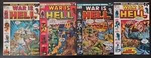 💥 WAR is HELL #1, 2, 3 & 4 (1-4 lot run) (vol 1)(1973 MARVEL Comics) VG/FN Book