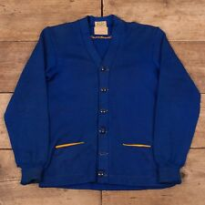 "Mens Vintage Dehen 1950s Blue Worsted Wool Classmate Cardigan Small 36"" XR 9401"