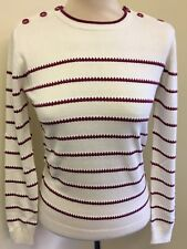 Brand New Burgundy Cream Striped Ness Jumper Button Size L Large Ladies Woman