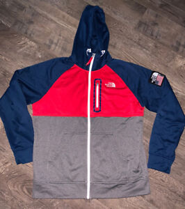 THE NORTH FACE RU/14 SOCHI OLYMPICS FULL ZIP HOODED RED WHITE BLUE JACKET SZ XL