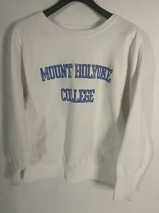 Vintage 80's Champion Reverse Weave Mount Holyoke College Sweatshirt Size Medium