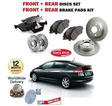 Fits Honda Insight Genuine Comline 4 Stud Rear Solid Brake Disc /& Pad Kit