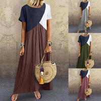 Women Short Sleeve Long Dress Kaftan Casual Loose O Neck Patchwork Maxi Dress