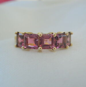 1.81ct Natural Genuine Square Pink Tourmaline Gold Band Ring