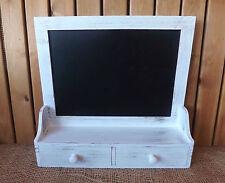 Shabby Chic Wooden White Memo Chalk Board Blackboard Wall Unit 2 Drawers & Shelf