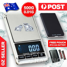 Portable 500g x 0.01g Digital Scale Jewelry Pocket Balance Gram LCD Herb Gold AU