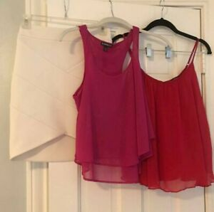 Express Lot of 3, ,2 tops, one white skirt ,all XS