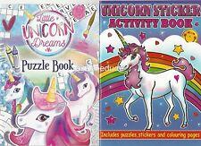 Set 2 x Children's Unicorns Colouring Puzzle Book Stickers Activity Girls Kids