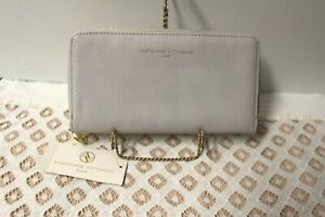 Adrienne Vittadini Snap Front Zip Around Wallet Dove Grey Smooth NWT