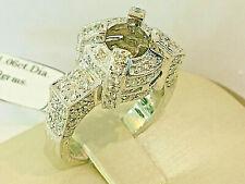 18k White Gold Semi mount Ring, size 6