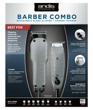 Andis Barber Combo Clipper (Envy) & Trimmer (T-Outliner) +Attachment Combs 66325